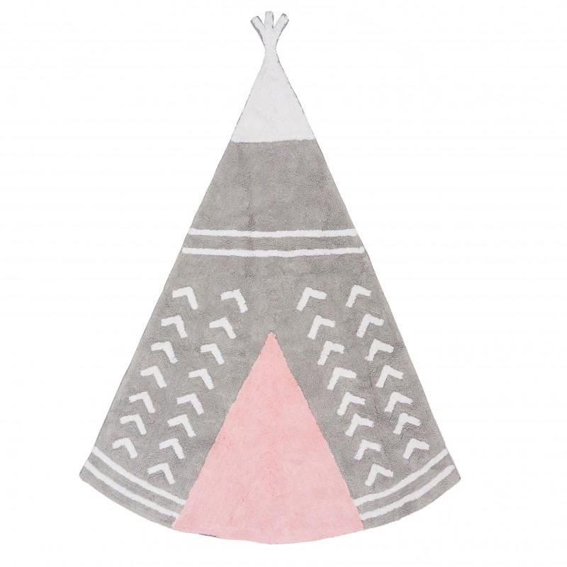 Alfombra Infantil Tipi - Lavable  textil Alfombras COLORES DISPONIBLES: gris perla, verde menta, rosa pastel Incluye