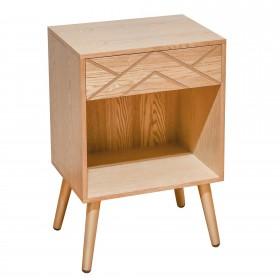 MESITA NÓRDICA CON CAJÓN - ROBLE PATA DORADA. Muebles Dormitorio Mesitas y sinfoniers Patas: patas en madera maciza; Tipo de
