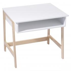 Pupitre blanco y madera montessori  Decoración Infantil Mesitas, sillas y Pupitres    Muemue - Muebles