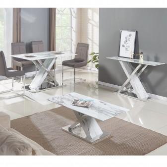 MESA DE CENTRO HOUSTON MARMOL Home Sillas Material Principal: base: mdf cubierto de acero inox.; Espesor Material Principal: