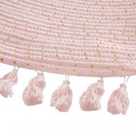 Alfombra rosa borlas