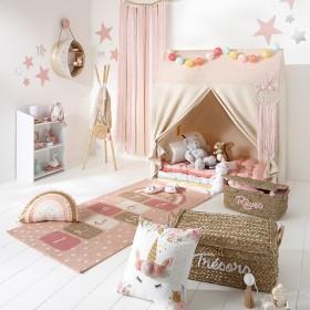 Alfombra rayuela rosa y colores