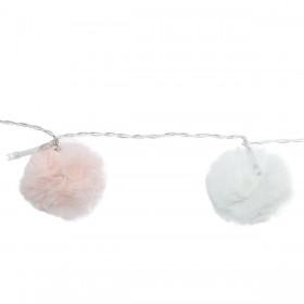 Guirnaldas pompones blanco y rosa