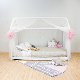 Dosel TUL para camas casita montessori textil doseles y techos de tela COLORES DISPONIBLES: rosa pastel, blanco mate Muemue -