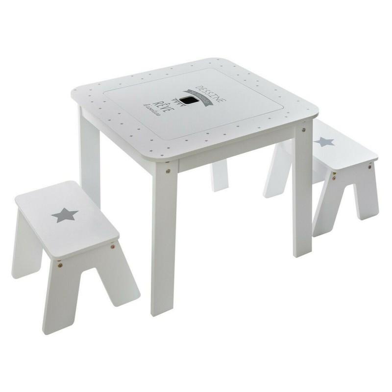 Mesa con almacenaje reversible mas 2 taburetes
