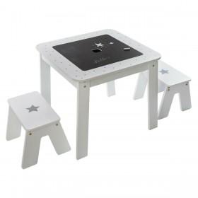 Mesa con almacenaje reversible + 2 taburetes Decoración Infantil Mesitas, sillas y Pupitres Muemue - Muebles