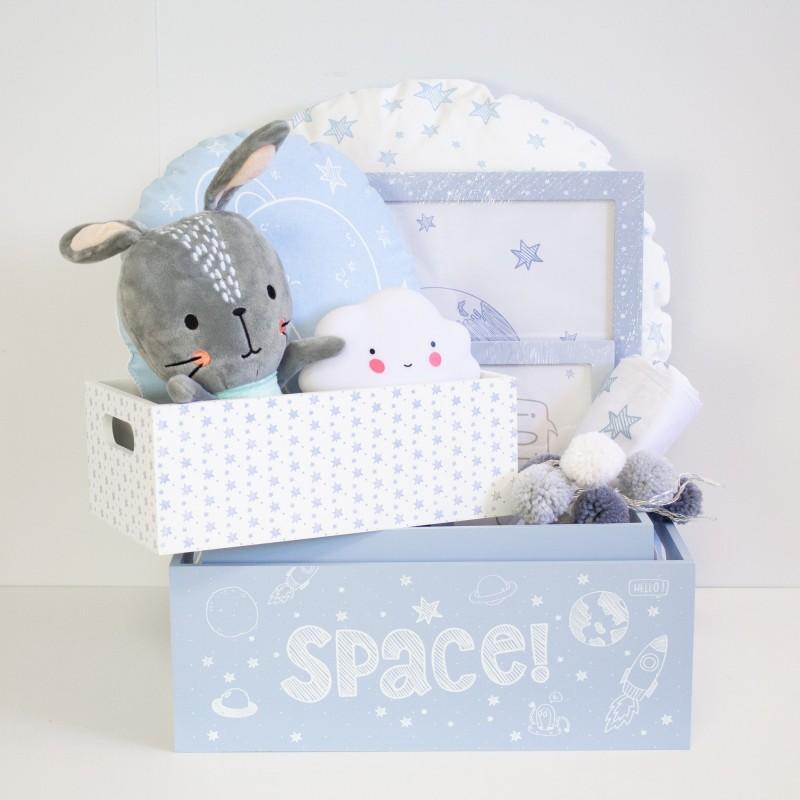 Canastilla bebe regalo XL  Home canastilla COLORES DISPONIBLES: azul frozen, rosa pastel, gris, blanco y negro  MUEMUE Muemue -