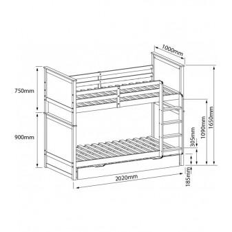 Litera triple dos camas mas arrastre Camas y literas COLORES DISPONIBLES: pino, blanco Medidas: 2032x1067x1651mm; El paquete