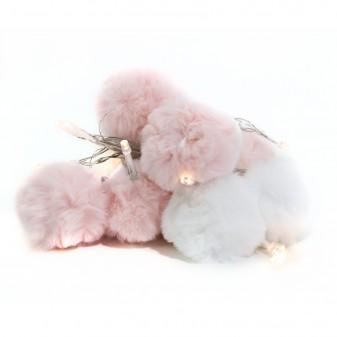 Guirnaldas pompones blanco y rosa  Decoración Infantil Guirnaldas y lamparas    Muemue - Muebles