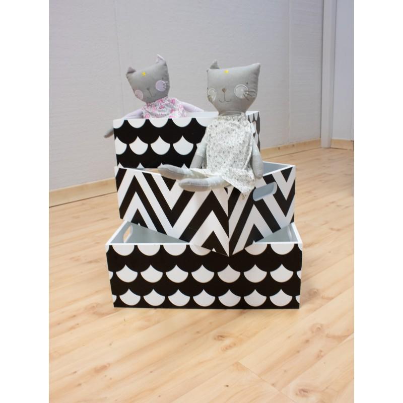 Set 3 cajas de madera decorativas blanco y negro  Decoración Infantil Cajas y cestos   DISTRIMOBEL Muemue - Muebles