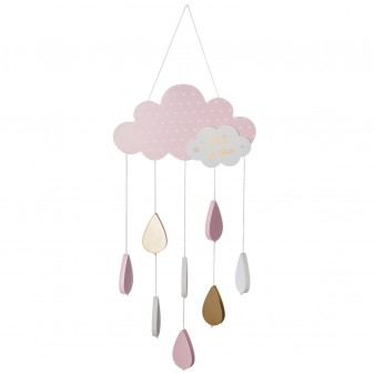 Móvil cielo y gotas rosa  Decoración Infantil Accesorios Deco    Muemue - Muebles