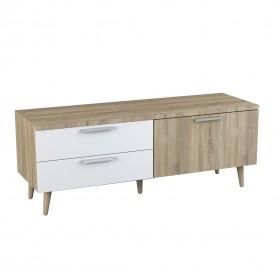 Mesa de televisão de madeira e branco
