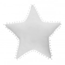 cojín estrella con pompones