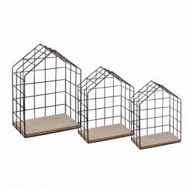 Estanterías casitas de madera y metal