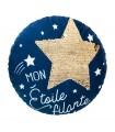 Coussin rond bleu STAR
