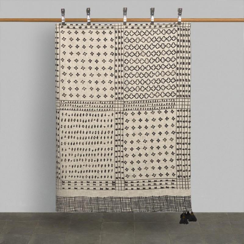 Maya colcha crudo y negro. Cama 135/150 x 190/200cm