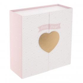Corazón caja rosa, blanca y dorada 21.2x22.2x9.2