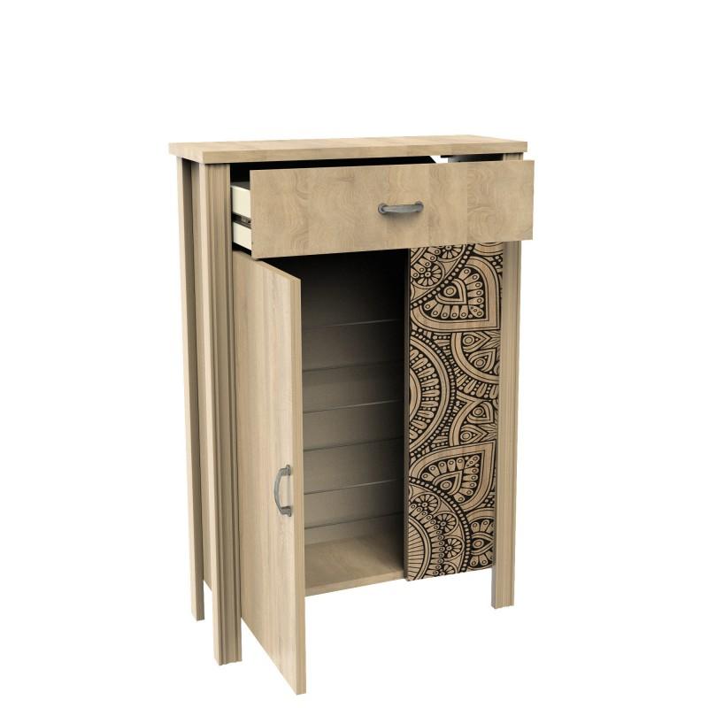 Mandala scarpiera 1 porta 1 cassetto 90x60x23 cm