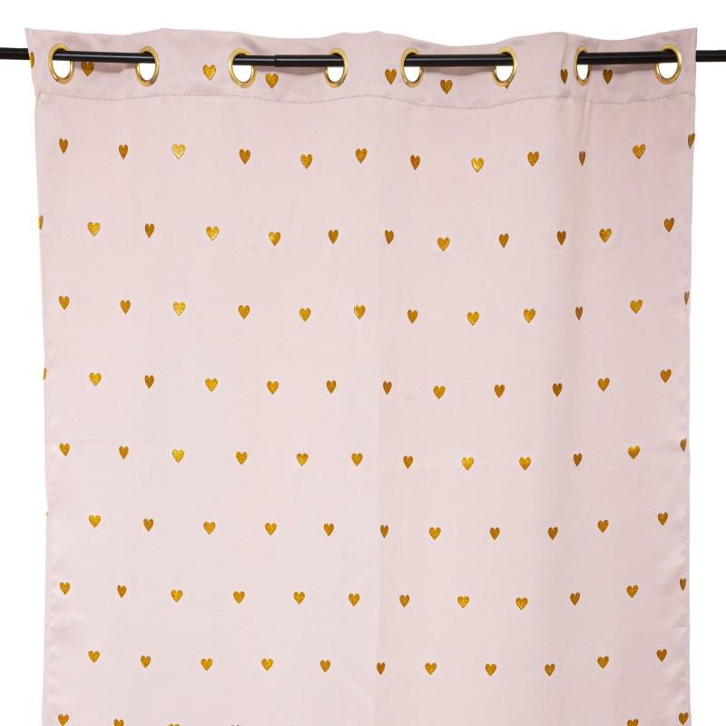 Corazón Gold cortinas rosa 260x140cm