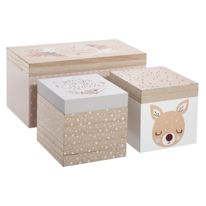 Bambi de 3 caixas de madeira  S:14x14x14cm/M:16x30x16cm