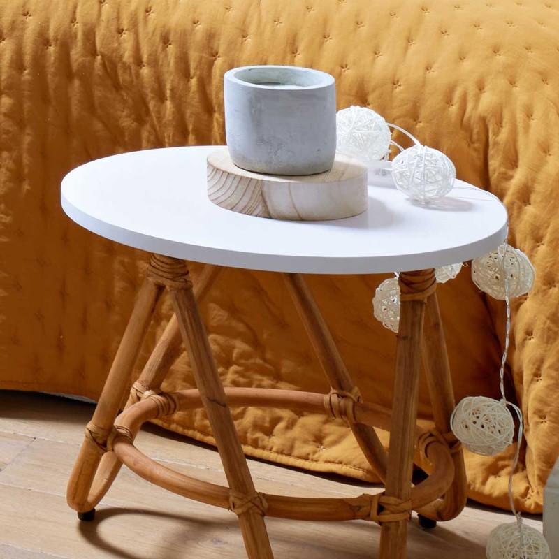 Rio mesa de ratán blanca 40x44øcm