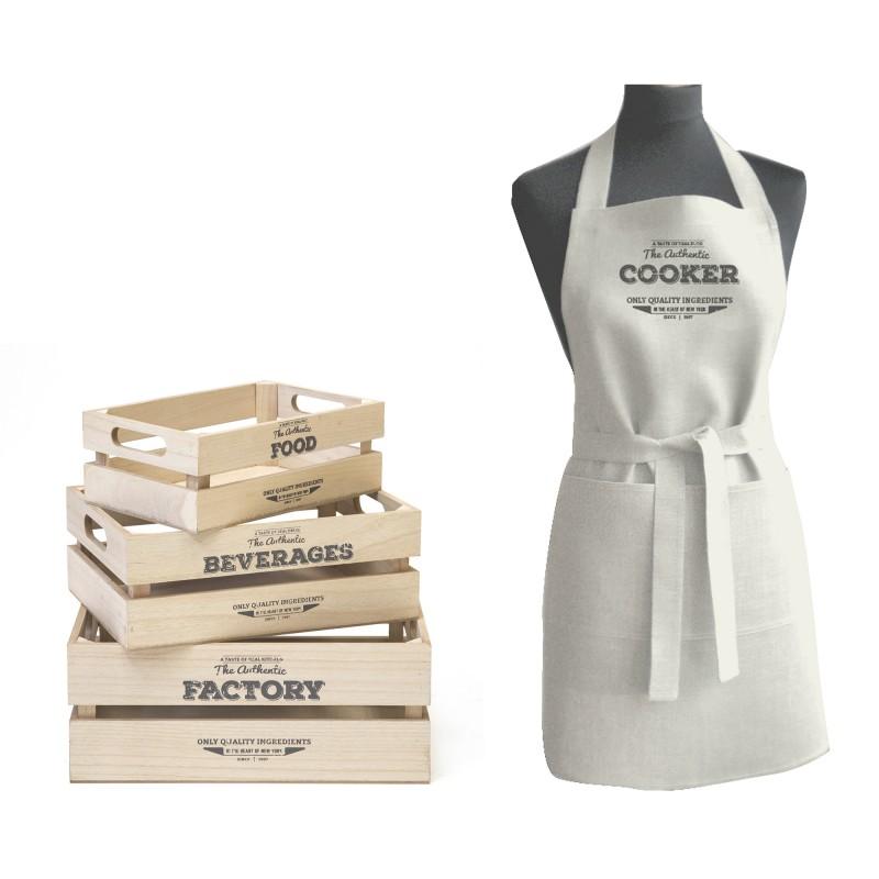 Bakery set de cajas y delantal 10x27x18/12x32x23/15x37x28cm