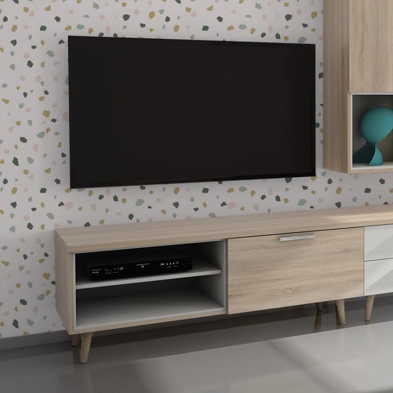 Anna móvel de TV com prateleiras 52,4x137,6x45cm