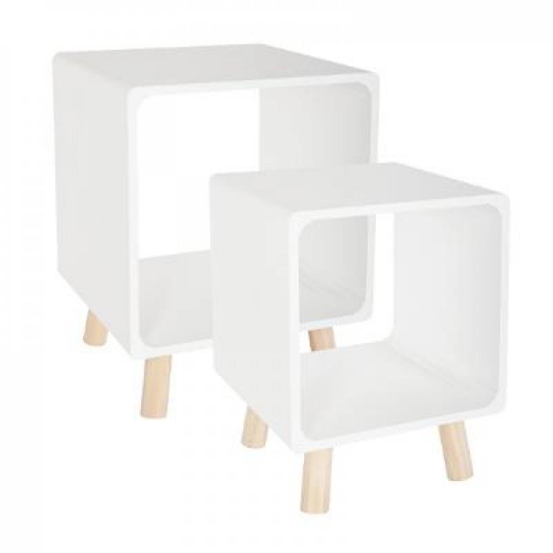 Cube juego de 2 mesitas de noche blanco 45x35x35 cm