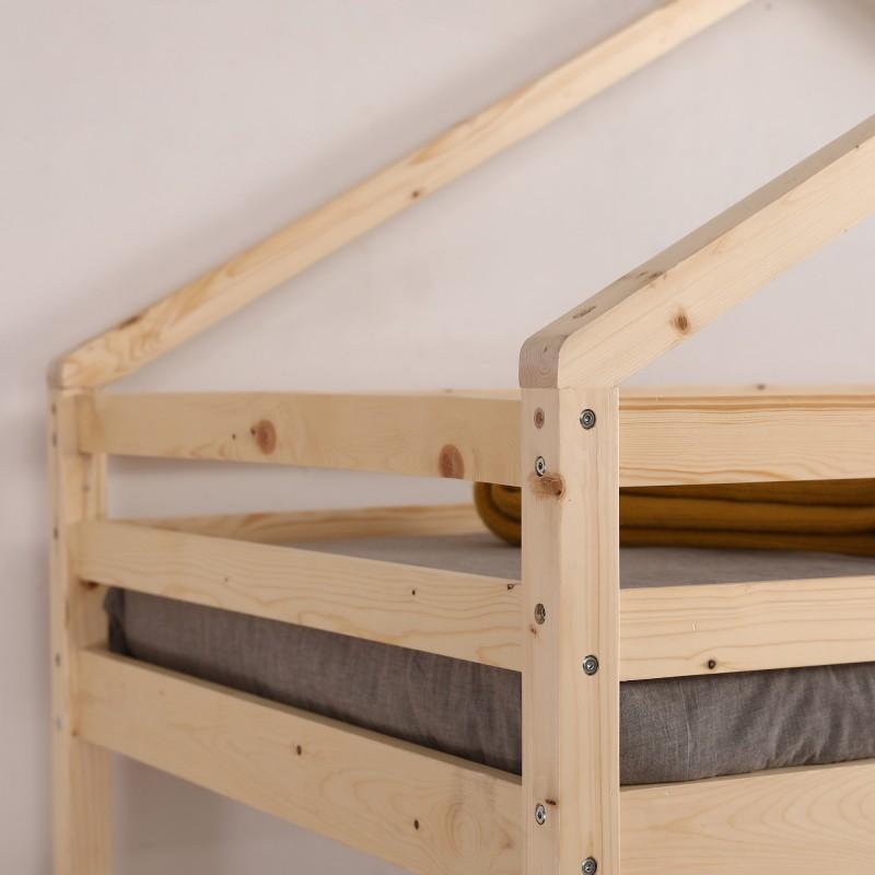 Litera infantil casita de madera Happy 202x208,2x98cm