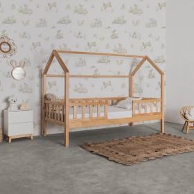 Cama infantil Montessori casita con barandilla Sawyer 90x190cm