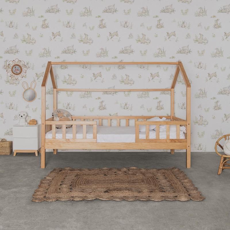 Cama infantil Montessori casita con barandilla 90x190cm