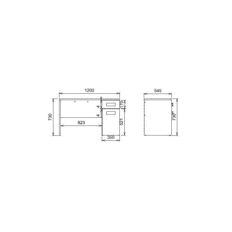 Madera Pastel bureau 1 tiroir + 1 porte 73x120x 55cm