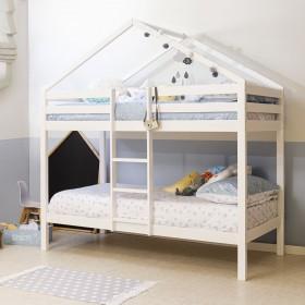 Litera infantil casita de madera Happy blanca 202x208,2x98 cm